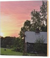 New Jersey Barn Sunset Wood Print
