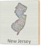 New Jersey Line Art Map Wood Print