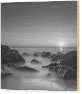 New Jersey Sunrise At Sea Girt Bw Wood Print