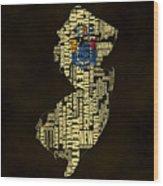 New Jersey Typographic Map 02 Wood Print
