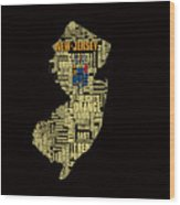 New Jersey Typographic Map 4g Wood Print