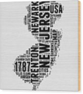 New Jersey Word Cloud 2 Wood Print
