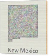 New Mexico Line Art Map Wood Print
