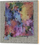 New Mexico Map Color Splatter 5 Wood Print