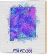 New Mexico Map Watercolor 2 Wood Print