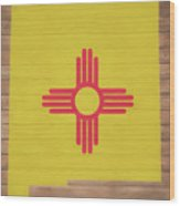 New Mexico Rustic Map On Wood Wood Print