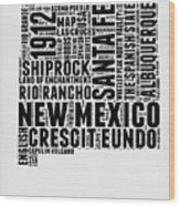 New Mexico Word Cloud Map 2 Wood Print