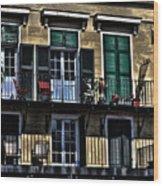 New Orleans Balcony Wood Print