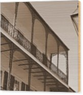 New Orleans Balcony With Lamp Wood Print
