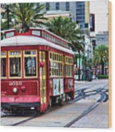 New Orleans Canal Streetcars  Wood Print