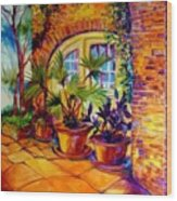 New Orleans Courtyard By M Baldwin Wood Print