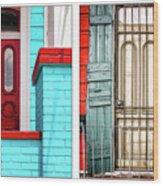 New Orleans Doorways Diptych One Wood Print