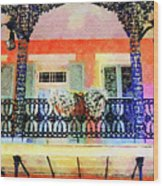 New Orleans French Quarter Balcony Wood Print