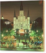 New Orleans Night Photo - Saint Louis Cathedral Wood Print