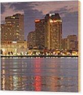 New Orleans Skyline At Dusk Wood Print