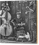 New Orleans Street Musicians Bw Wood Print