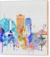 New Orleans Watercolor Skyline Wood Print
