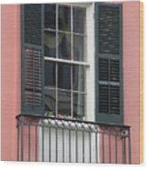 New Orleans Windows 4 Wood Print