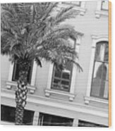 New Orleans Windows - Black And White Wood Print