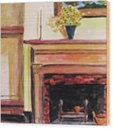 New Painting Over The Mantel Wood Print