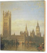 New Palace Of Westminster From The River Thames Wood Print