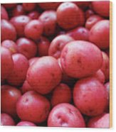 New Red Potatoes For Sale In A Market Wood Print
