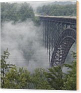 New River Gorge Bridge On A Foggy Day In West Virginia Wood Print by Brendan Reals