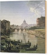 New Rome With The Castel Sant Angelo Wood Print