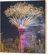New Year Fireworks - Seattle Wood Print