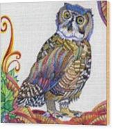 New-year Owl Wood Print