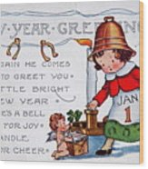 New Year Postcard Wood Print