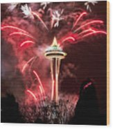 New Years At The Space Needle Wood Print