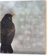 New Years Card Wood Print