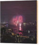 New Year's Eve Fireworks  Wood Print