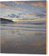 New Year's Morning On Sand Beach Wood Print