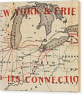 New York And Erie Railroad Map 1855 Wood Print