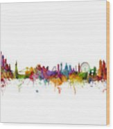 New York And London Skyline Mashup Wood Print