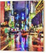 New York At Night - 14 Wood Print