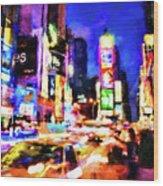 New York At Night - 15 Wood Print