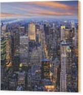 New York At Night Wood Print