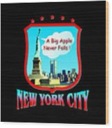 New York Big Apple Design Wood Print