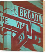 New York Broadway Sign Wood Print by Naxart Studio