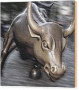 New York Bull Of Wall Street Wood Print