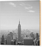 New York City - Empire State Building Panorama Black And White Wood Print