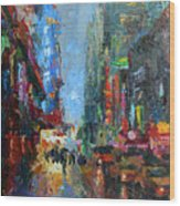 New York City 42nd Street Painting Wood Print