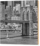 New York City Brooklyn Bridge And East River Wood Print