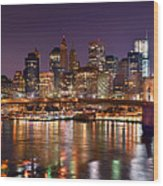 New York City Brooklyn Bridge And Lower Manhattan At Night Nyc Wood Print