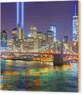 New York City Brooklyn Bridge Tribute In Lights Freedom Tower World Trade Center Wtc Manhattan Nyc Wood Print