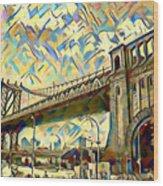 New York City - Brooklyn Bridge Watercolor Wood Print