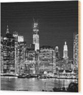 New York City Bw Tribute In Lights And Lower Manhattan At Night Black And White Nyc Wood Print